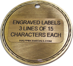 Engraved labels for medals
